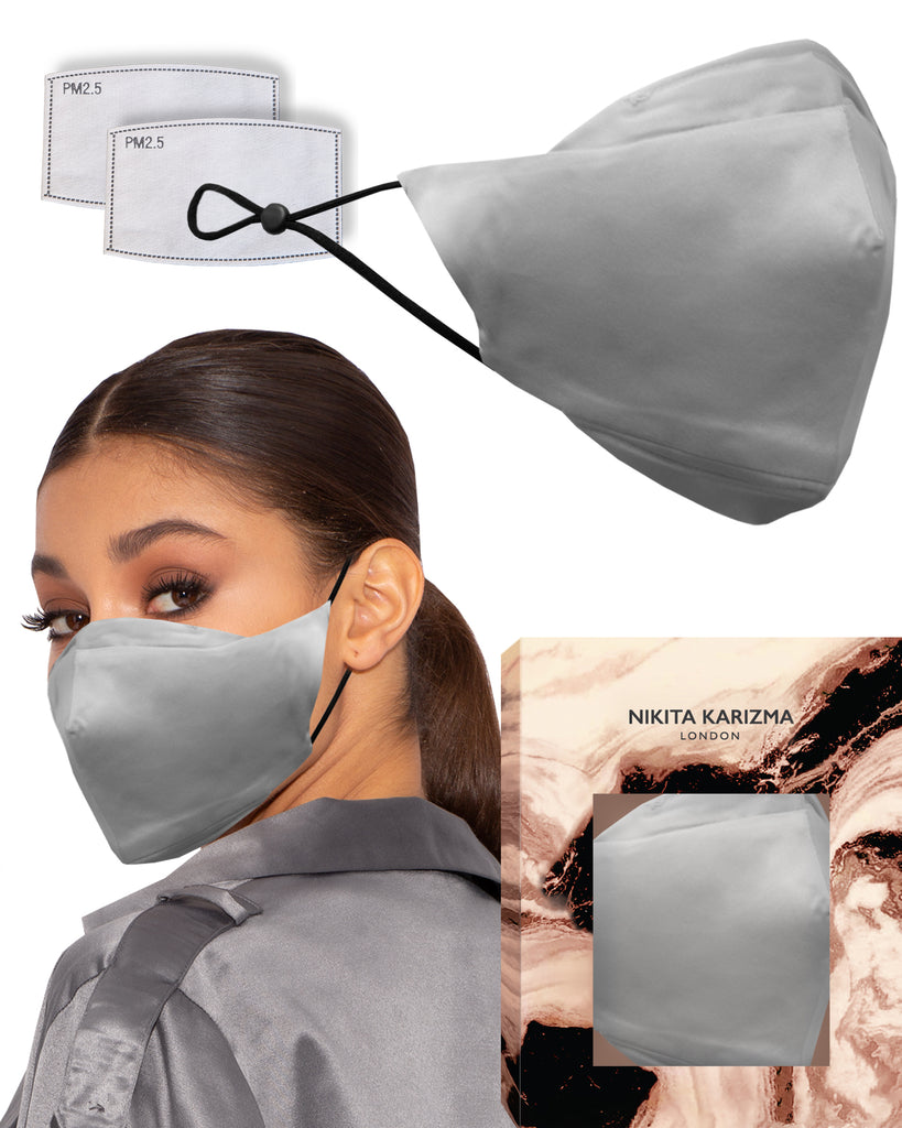 90210 Silk Mask in Grey by KARIZMA 19 Momme 100% Mulberry Silk 6A Grade Fabric Face Mask with 2 filters