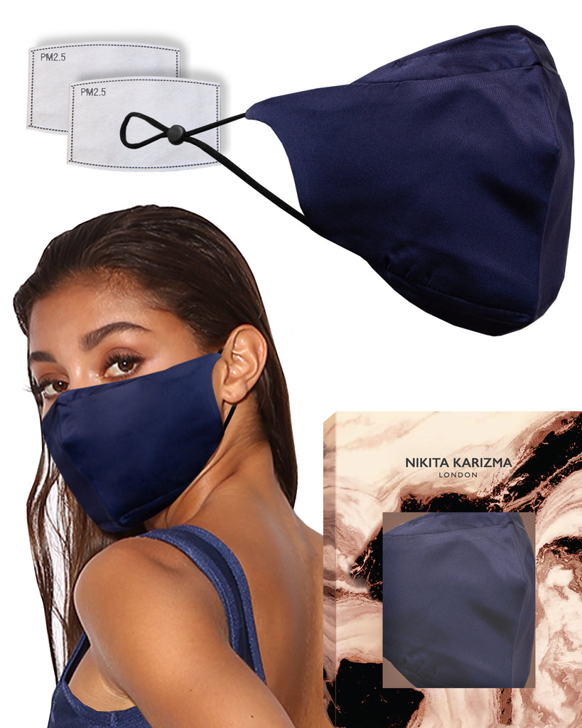90210 Silk Mask in Navy Blue