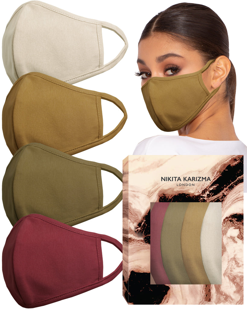 Stretch Sculpt in Earth Tones Face Masks by KARIZMA Fabric Face Mask 4 Masks