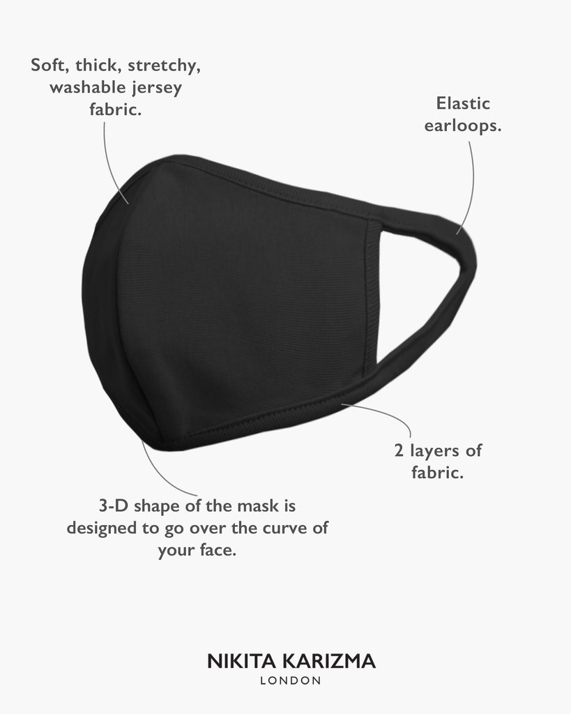 Stretch Sculpt Childrens in Black Face Masks by KARIZMA Fabric Face Mask 3 Kids Masks