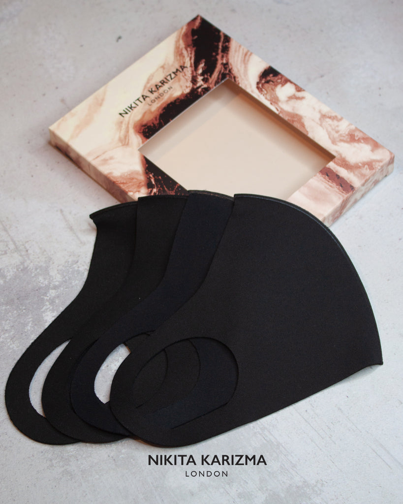Styling Essentials in Black Face Mask by KARIZMA Fabric Face Mask 4 Pieces
