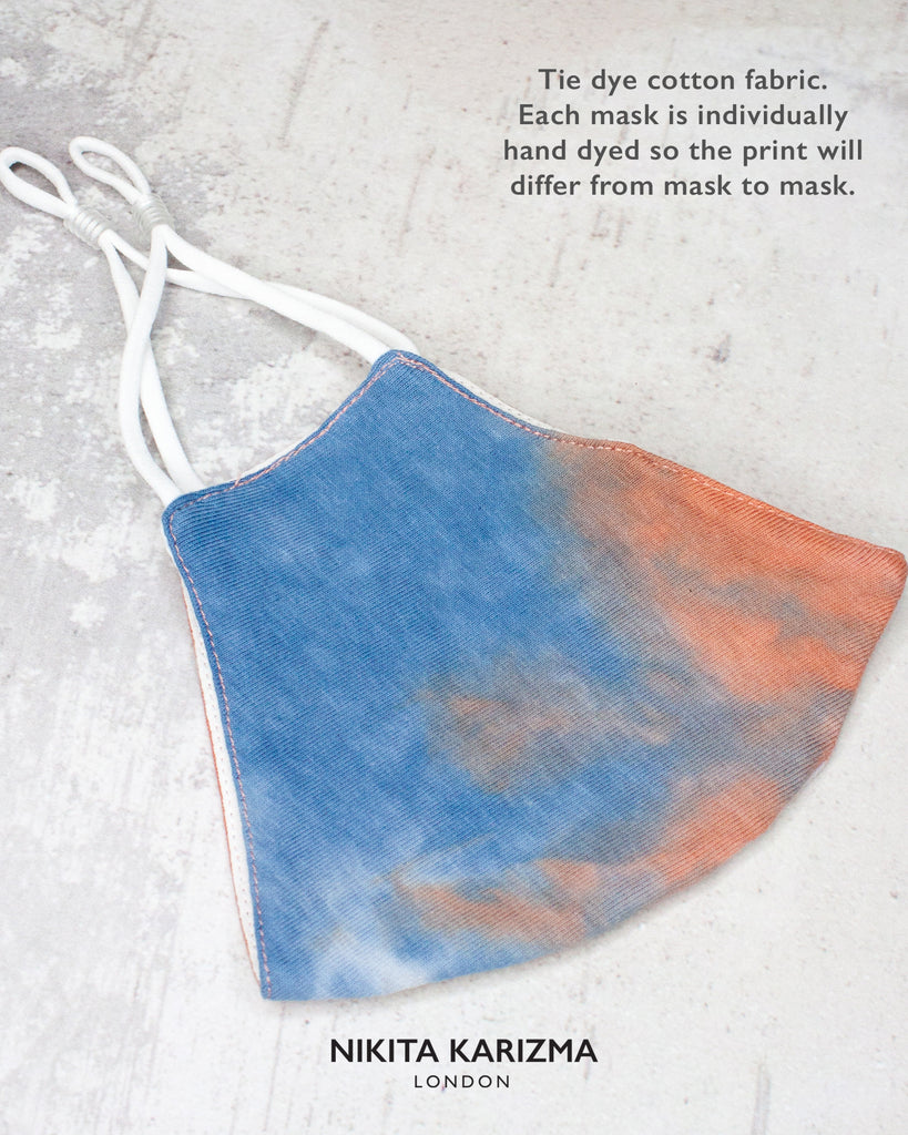 Tie Dye Face Mask in Sunset by KARIZMA Fabric Face Mask 1 Face Mask with 2 filters