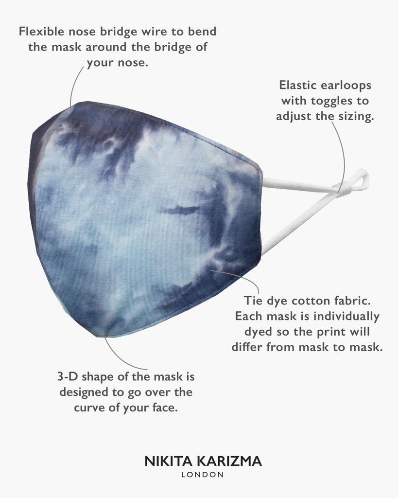 Tie Dye Face Mask in Ocean by KARIZMA Fabric Face Mask 1 Face Mask with 2 filters