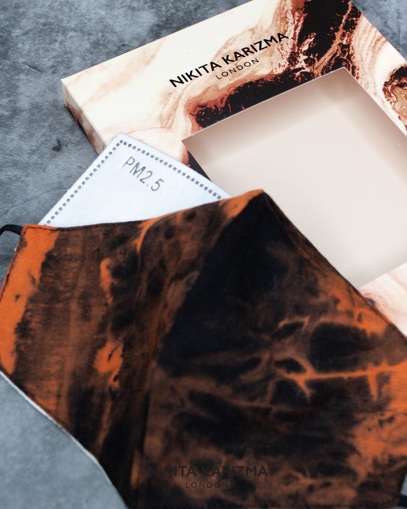 Tie Dye Face Mask in Rust by KARIZMA Fabric Face Mask 1 Face Mask with 2 filters