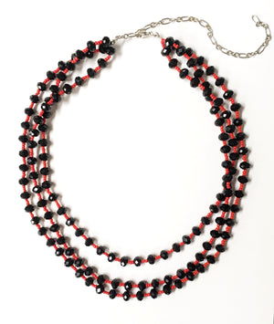 3 Strand Red and Black Necklace