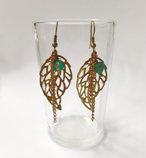 Gold Leaf with Green Bead Earring