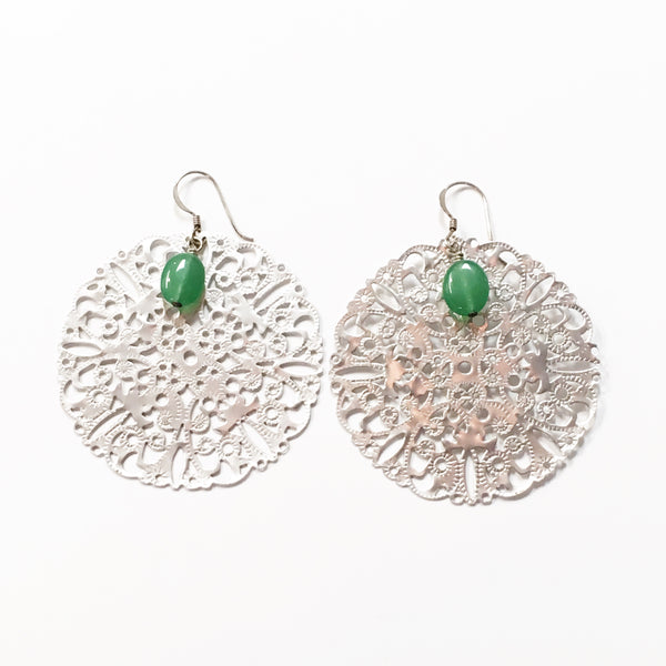 Silver Lace with Green Bead