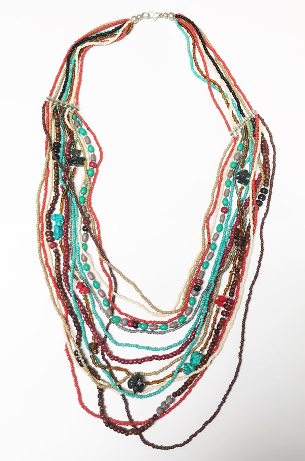Orange Blue Brown Necklace