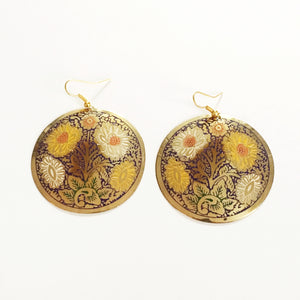 Gold Floral Disc Earrings