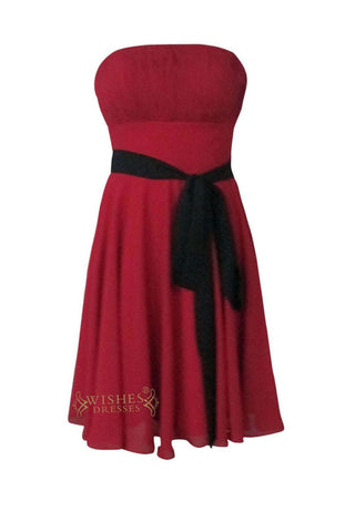 A-line Burgundy Chiffon Knee Length Bridesmaid Dress Am147