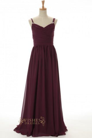 A-line Burgundy Straps V-neck Bridesmaid Dress   AM251