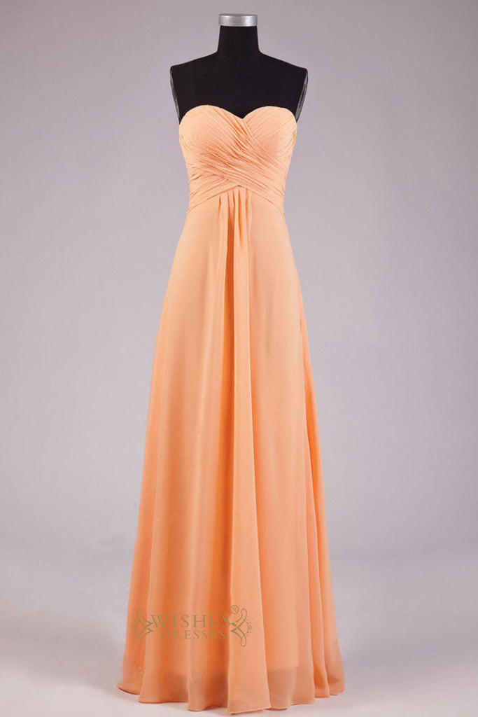 Sweetheart Orange Chiffon Floor Length Bridesmaid Dress AM252