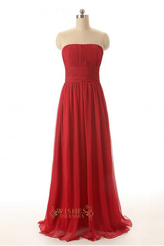 A line Red Chiffon Floor Length Bridesmaid Dress AM253