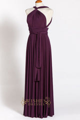 Multi-way Wearing Wrap Twist Grape Floor Length plum Bridesmaid Dress AM254