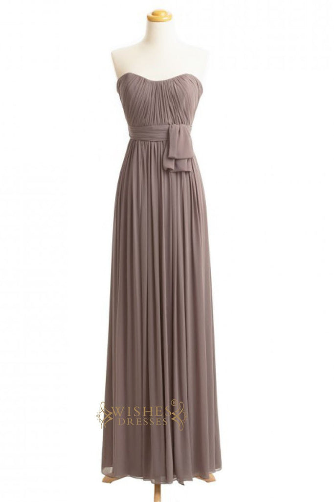 A-line Purple Chiffon Floor Length Bridesmaid Dresses AM255