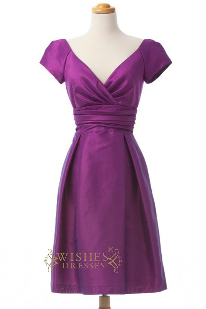 A-line Purple Satin Knee Length Bridesmaid Dresses AM257