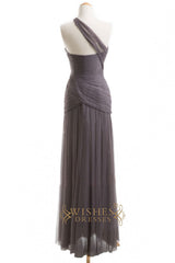 A-line One-shoulder Tulle Floor Length Bridesmaid Dresses AM258