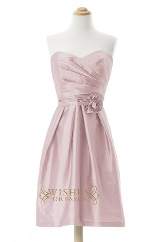 A-line Pink Taffeta Short Bridesmaid Dresses AM259