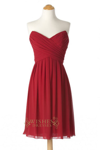 A-line Red Chiffon Knee Length Bridesmaid Dresses AM260