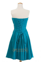 A-line Teal Satin Short Bridesmaid Dresses AM261