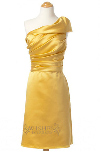 A-line One Shoulder Yellow Short Bridesmaid Dresses AM262
