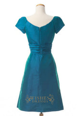 A-line Short Sleeves KneeLength Bridesmaid Dresses AM263