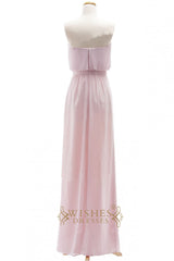 A-line Pink Chiffon Floor Length Bridesmaid Dresses AM266