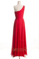 A-line One-shoulder Red Chiffon Bridesmaid Dresses AM269