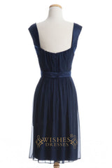 A-line Dark Navy Chiffon Short Bridesmaid Dresses AM270