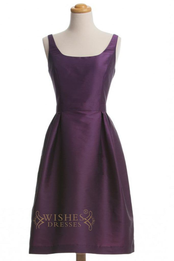 A-line Grape Taffeta Short Bridesmaid Dresses AM274