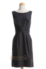 A-line Scoop Black Taffeta Short Bridesmaid Dresses AM275