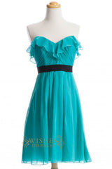 A-line Turquoise Chiffon Short Bridesmaid Dresses AM276