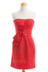 A-line Red Taffeta Short Bridesmaid Dresses AM277