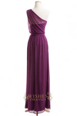 One-shoulder Grape Chiffon Long Bridesmaid Dresses AM278