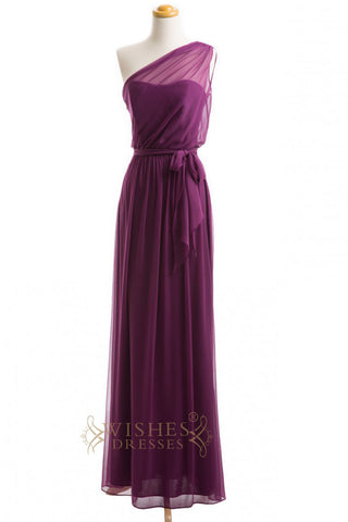 A-line Sheer One-shoulder Grape Bridesmaid Dresses AM259