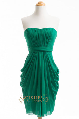 A-line Green Chiffon Short emerald Bridesmaid Dresses AM280