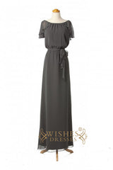 Scoop Neckline Cap Sleeves Long Bridesmaid DressesAM284