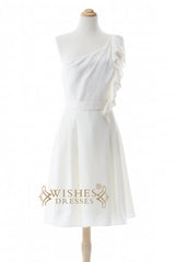 A-line One-shoulder Chiffon Bridesmaid Dresses AM285