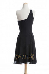 One-shoulder A-line Black Chiffon Knee Length Bridesmaid Dresses AM289