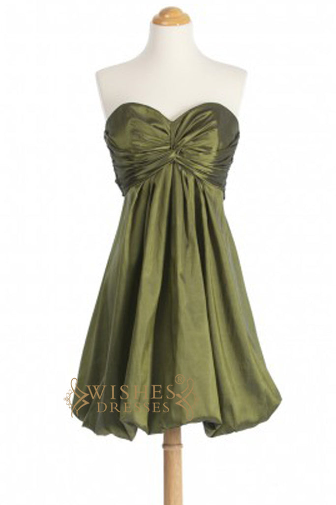 A-line OliveTaffeta Short Bridesmaid Dresses With Puff Skirt AM290