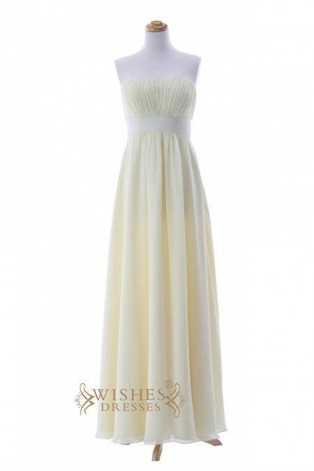 Cheap A-line Yellow Chiffon Floor Length Bridesmaid Dresses AM291