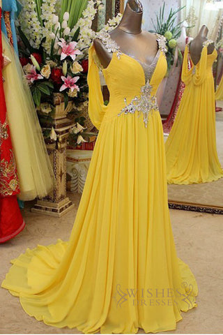 V Neck Yellow Chiffon Long Formal/ Evening/ Prom Dresses AM292