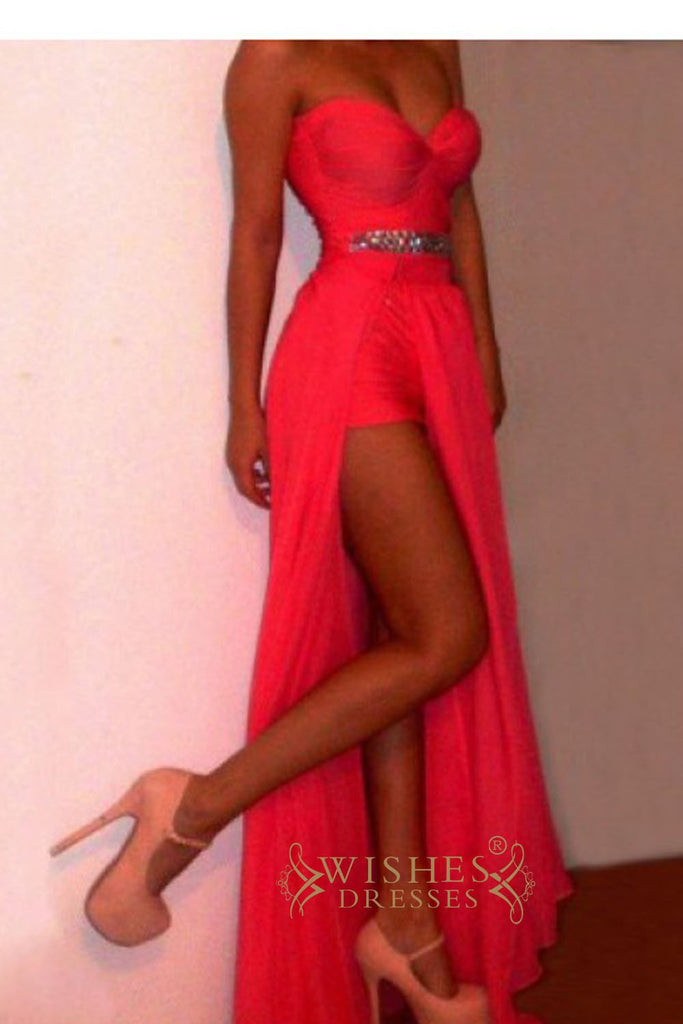 Red Chiffon High Low Homecoming Dresses/ Fashion Prom Dresses/Formal Dresses/ AM293