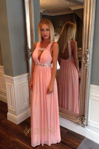 Pink Chiffon Long Prom Dresses Formal Party Dress With Sexy Style AM295
