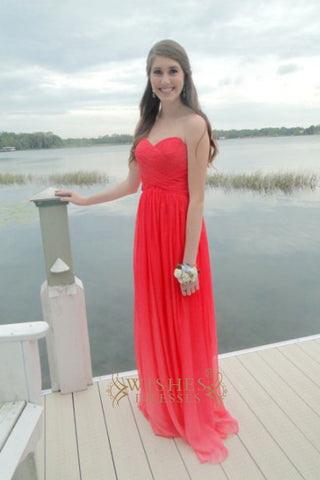 A-line Red Chiffon Floor Length Bridesmaid Dresses /Bridal Party Dresses AM296