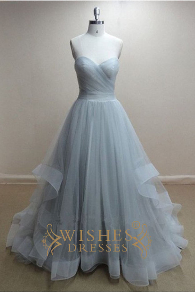 A Line Sky Blue Organza Long Prom Dress Wedding Dress Am300