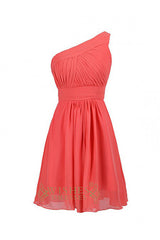 A-line One-shoulder Coral Chiffon Short Bridesmaid Dresses AM304