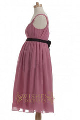 A-line Red Chiffon Knee Length Bridesmaid Dresses AM320