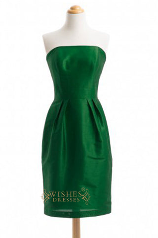A-line Green Satin Knee Length Bridesmaid Dresses AM322