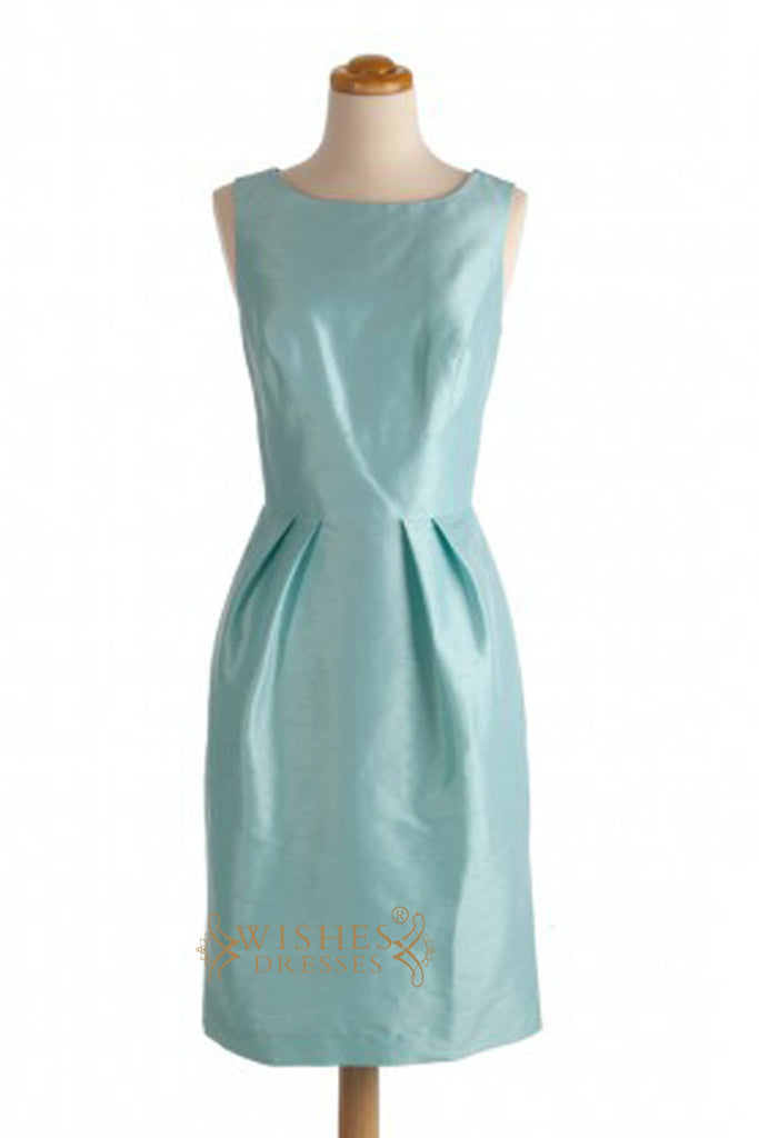 Sky Blue Open Back Taffeta Knee Length Bridesmaid Dresses AM324